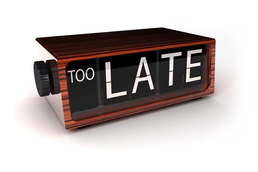 conceptual image of an alarm clock showing that you are too late
